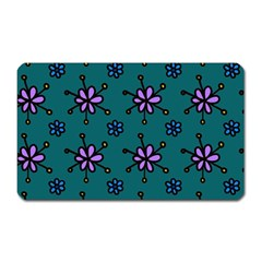 Blue Purple Floral Flower Sunflower Frame Magnet (Rectangular)