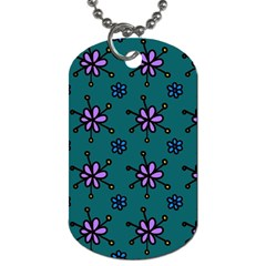 Blue Purple Floral Flower Sunflower Frame Dog Tag (one Side)