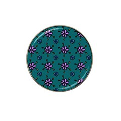 Blue Purple Floral Flower Sunflower Frame Hat Clip Ball Marker