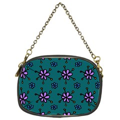 Blue Purple Floral Flower Sunflower Frame Chain Purses (One Side)