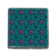 Blue Purple Floral Flower Sunflower Frame Memory Card Reader (square)