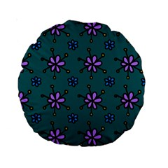 Blue Purple Floral Flower Sunflower Frame Standard 15  Premium Round Cushions