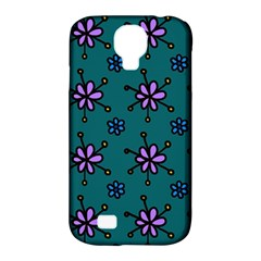 Blue Purple Floral Flower Sunflower Frame Samsung Galaxy S4 Classic Hardshell Case (PC+Silicone)