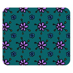 Blue Purple Floral Flower Sunflower Frame Double Sided Flano Blanket (Small)