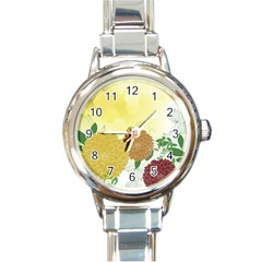 Abstract Flowers Sunflower Gold Red Brown Green Floral Leaf Frame Round Italian Charm Watch