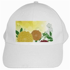Abstract Flowers Sunflower Gold Red Brown Green Floral Leaf Frame White Cap