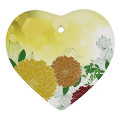 Abstract Flowers Sunflower Gold Red Brown Green Floral Leaf Frame Ornament (heart)
