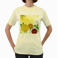 Abstract Flowers Sunflower Gold Red Brown Green Floral Leaf Frame Women s Yellow T-Shirt