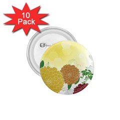 Abstract Flowers Sunflower Gold Red Brown Green Floral Leaf Frame 1.75  Buttons (10 pack)