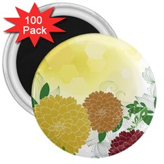 Abstract Flowers Sunflower Gold Red Brown Green Floral Leaf Frame 3  Magnets (100 Pack)