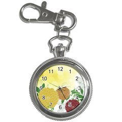 Abstract Flowers Sunflower Gold Red Brown Green Floral Leaf Frame Key Chain Watches