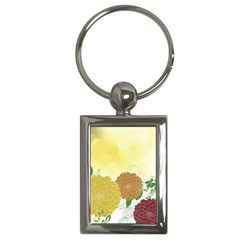 Abstract Flowers Sunflower Gold Red Brown Green Floral Leaf Frame Key Chains (Rectangle)