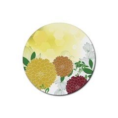 Abstract Flowers Sunflower Gold Red Brown Green Floral Leaf Frame Rubber Round Coaster (4 pack)