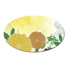 Abstract Flowers Sunflower Gold Red Brown Green Floral Leaf Frame Oval Magnet