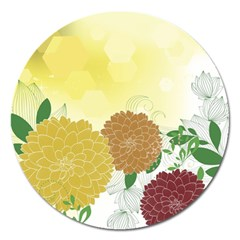 Abstract Flowers Sunflower Gold Red Brown Green Floral Leaf Frame Magnet 5  (Round)
