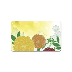 Abstract Flowers Sunflower Gold Red Brown Green Floral Leaf Frame Magnet (name Card)