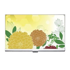 Abstract Flowers Sunflower Gold Red Brown Green Floral Leaf Frame Business Card Holders