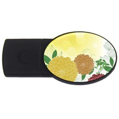 Abstract Flowers Sunflower Gold Red Brown Green Floral Leaf Frame USB Flash Drive Oval (2 GB)