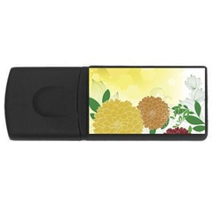 Abstract Flowers Sunflower Gold Red Brown Green Floral Leaf Frame USB Flash Drive Rectangular (2 GB)