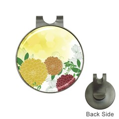 Abstract Flowers Sunflower Gold Red Brown Green Floral Leaf Frame Hat Clips With Golf Markers