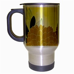 Abstract Flowers Sunflower Gold Red Brown Green Floral Leaf Frame Travel Mug (Silver Gray)