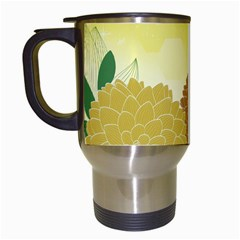 Abstract Flowers Sunflower Gold Red Brown Green Floral Leaf Frame Travel Mugs (White)