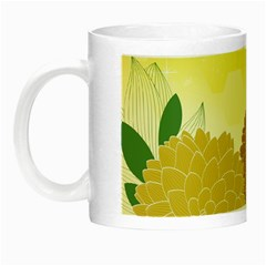 Abstract Flowers Sunflower Gold Red Brown Green Floral Leaf Frame Night Luminous Mugs