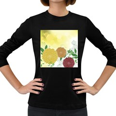 Abstract Flowers Sunflower Gold Red Brown Green Floral Leaf Frame Women s Long Sleeve Dark T-Shirts