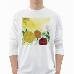 Abstract Flowers Sunflower Gold Red Brown Green Floral Leaf Frame White Long Sleeve T-Shirts