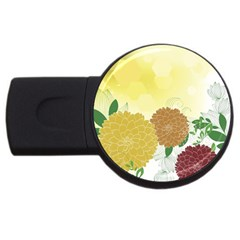 Abstract Flowers Sunflower Gold Red Brown Green Floral Leaf Frame USB Flash Drive Round (4 GB)
