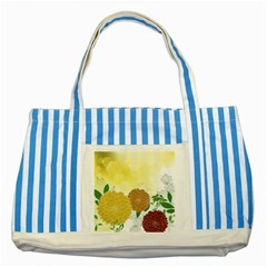 Abstract Flowers Sunflower Gold Red Brown Green Floral Leaf Frame Striped Blue Tote Bag