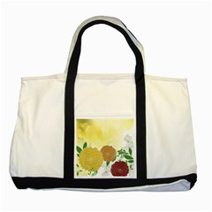Abstract Flowers Sunflower Gold Red Brown Green Floral Leaf Frame Two Tone Tote Bag
