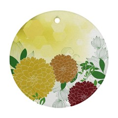 Abstract Flowers Sunflower Gold Red Brown Green Floral Leaf Frame Round Ornament (Two Sides)