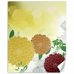 Abstract Flowers Sunflower Gold Red Brown Green Floral Leaf Frame Canvas 16  x 20