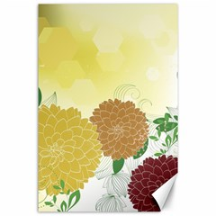 Abstract Flowers Sunflower Gold Red Brown Green Floral Leaf Frame Canvas 24  x 36