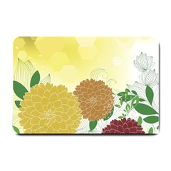 Abstract Flowers Sunflower Gold Red Brown Green Floral Leaf Frame Small Doormat