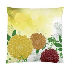 Abstract Flowers Sunflower Gold Red Brown Green Floral Leaf Frame Standard Cushion Case (one Side)