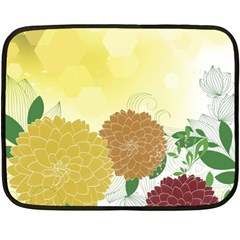 Abstract Flowers Sunflower Gold Red Brown Green Floral Leaf Frame Fleece Blanket (Mini)