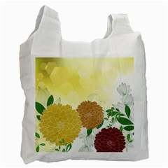 Abstract Flowers Sunflower Gold Red Brown Green Floral Leaf Frame Recycle Bag (One Side)