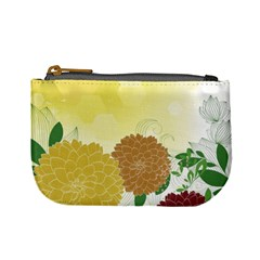 Abstract Flowers Sunflower Gold Red Brown Green Floral Leaf Frame Mini Coin Purses