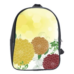 Abstract Flowers Sunflower Gold Red Brown Green Floral Leaf Frame School Bags(Large)