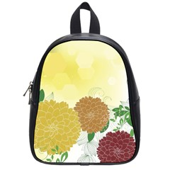 Abstract Flowers Sunflower Gold Red Brown Green Floral Leaf Frame School Bags (Small)