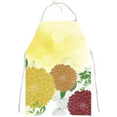 Abstract Flowers Sunflower Gold Red Brown Green Floral Leaf Frame Full Print Aprons