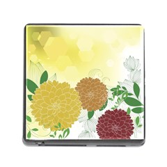Abstract Flowers Sunflower Gold Red Brown Green Floral Leaf Frame Memory Card Reader (square)