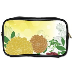 Abstract Flowers Sunflower Gold Red Brown Green Floral Leaf Frame Toiletries Bags 2-Side