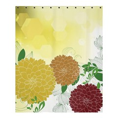 Abstract Flowers Sunflower Gold Red Brown Green Floral Leaf Frame Shower Curtain 60  x 72  (Medium)