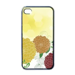 Abstract Flowers Sunflower Gold Red Brown Green Floral Leaf Frame Apple iPhone 4 Case (Black)