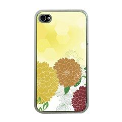 Abstract Flowers Sunflower Gold Red Brown Green Floral Leaf Frame Apple iPhone 4 Case (Clear)