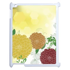 Abstract Flowers Sunflower Gold Red Brown Green Floral Leaf Frame Apple iPad 2 Case (White)