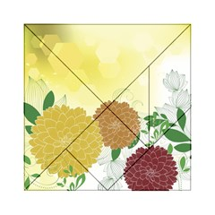Abstract Flowers Sunflower Gold Red Brown Green Floral Leaf Frame Acrylic Tangram Puzzle (6  x 6 )